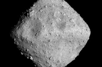 """This black and white handout photo taken by the Japanese Hayabusa2 probe on June 26, 2018 and released by the Optical Navigation Camera team (ONC-T) from the Japan Aerospace Exploration Agency (JAXA), the National Institute of Advanced Industrial Science and Technology and seven Japanese Univercities, Tokyo university, Kochi University, Rikkyo university, Nagoya University, Chiba Tech university, Meiji university and Aizu University on June 27, 2018 shows the Ryugu asteroid from an observation position some 20 kilometers (12 miles) above the asteroid. - The Japanese probe has reached an asteroid 300 million kilometres away to collect information about the birth of the solar system and the origin of life after a more than three-year voyage through deep space. (Photo by Handout / various sources / AFP) / RESTRICTED TO EDITORIAL USE - MANDATORY CREDIT """"AFP PHOTO / JAXA"""" - NO MARKETING NO ADVERTISING CAMPAIGNS - DISTRIBUTED AS A SERVICE TO CLIENTS / """"The erroneous mention[s] appearing in the metadata of this photo by Handout has been modified in AFP systems in the following manner: [This black and white handout photo taken by the Japanese Hayabusa2 probe on June 26, 2018 and released by a Optical Navigation Camera team (ONC-T) from the Japan Aerospace Exploration Agency (JAXA), the National Institute of Advanced Industrial Science and Technology and seven Japanese Univercities, Tokyo university, Kochi University, Rikkyo university, Nagoya University, Chiba Tech university, Meiji university and Aizu University on June 27, 2018] instead of [This black and white image taken by the Japanese Hayabusa2 probe on June 26, 2018 at 12:50 Japan time and released by a team from the Japan Aerospace Exploration Agency (JAXA), the National Institute of Advanced Industrial Science and Technology and seven Japanese universities on June 27, 2018]. Please immediately remove the erroneous mention[s] from all your online services and delete it (them) from your servers. If you have been auth"""