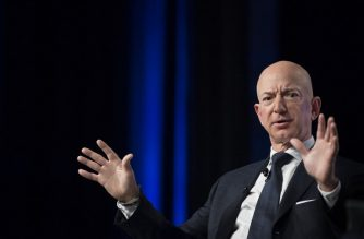 "(FILES) In this file photo taken on September 19, 2018 Amazon and Blue Origin founder Jeff Bezos provides the keynote address at the Air Force Association's Annual Air, Space & Cyber Conference in Oxen Hill, MD. - Amazon CEO Jeff Bezos on February 7, 2019 accused the publisher of the National Enquirer of ""blackmail"" after it threatened to publish intimate photographs sent by the billionaire to his mistress. (Photo by Jim WATSON / AFP)"
