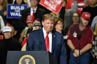 US President Donald Trump speaks during a rally in El Paso, Texas on February 11, 2019. (Photo by Nicholas Kamm / AFP)