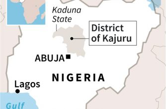 Map locating Kajuru district where more than 130 people were killed in an attack by gunmen on villages in the state of Kaduna in Nigeria.