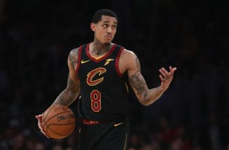 LOS ANGELES, CA - JANUARY 13: Jordan Clarkson #8 of the Cleveland Cavaliers looks on during the second half of a game against the Los Angeles Lakers at Staples Center on January 13, 2019 in Los Angeles, California. NOTE TO USER: User expressly acknowledges and agrees that, by downloading and or using this photograph, User is consenting to the terms and conditions of the Getty Images License Agreement.   Sean M. Haffey/Getty Images/AFP