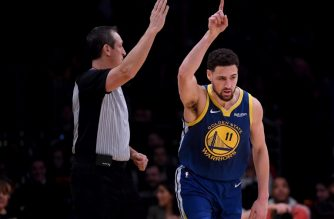 LOS ANGELES, CALIFORNIA - JANUARY 21: Klay Thompson #11 of the Golden State Warriors celebrates his three pointer during a 130-111 win over the Los Angeles Lakers at Staples Center on January 21, 2019 in Los Angeles, California. NOTE TO USER: User expressly acknowledges and agrees that, by downloading and or using this photograph, User is consenting to the terms and conditions of the Getty Images License Agreement.   Harry How/Getty Images/AFP