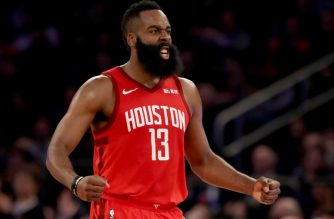 NEW YORK, NEW YORK - JANUARY 23: James Harden #13 of the Houston Rockets celebrates after teammate Gerald Green dunked in the third quarter against the New York Knicks at Madison Square Garden on January 23, 2019 in New York City.NOTE TO USER: User expressly acknowledges and agrees that, by downloading and or using this photograph, User is consenting to the terms and conditions of the Getty Images License Agreement.   Elsa/Getty Images/AFP