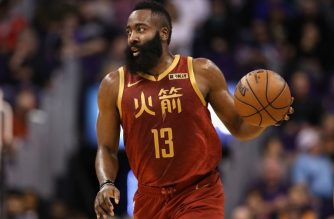 PHOENIX, ARIZONA - FEBRUARY 04: James Harden #13 of the Houston Rockets handles the ball during the first half of the NBA game against the Phoenix Suns at Talking Stick Resort Arena on February 04, 2019 in Phoenix, Arizona.   Christian Petersen/Getty Images/AFP