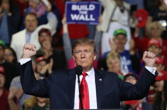 EL PASO, TEXAS - FEBRUARY 11: U.S. President Donald Trump speaks during a rally at the El Paso County Coliseum on February 11, 2019 in El Paso, Texas. Trump continues his campaign for a wall to be built along the border as the Democrats in Congress are asking for other border security measures.   Joe Raedle/Getty Images/AFP