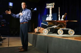 PASADENA, CALIFORNIA - FEBRUARY 13: NASA Administrator Jim Bridenstine speaks at a press conference announcing the conclusion of the rover Opportunity mission on February 13, 2019 in Pasadena, California. After 15 years, the Mars rover has finally stopped responding following an immense dust storm on the planet.   Mario Tama/Getty Images/AFP