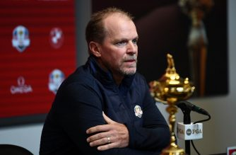 MILWAUKEE, WISCONSIN - FEBRUARY 20: Steve Stricker speaks with the media as he is named United States Ryder Cup Captain for 2020 during a press conference at the Fiserv Forum on February 20, 2019 in Milwaukee, Wisconsin.   Stacy Revere/Getty Images/AFP