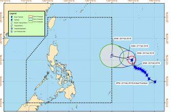 """Typhoon """"Wutip"""" may enter PAR on Thursday, Feb. 28, PAGASA said./PAGASA/"""