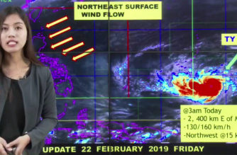 """""""Wutip"""" is now a typhoon, the Philippine Atmospheric Geophysical and Astronomical Services Administration said on Friday, Feb. 22./PAGASA/"""