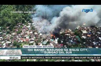 Mahigit 100 bahay, nasunog sa Barangay Tabon, Bislig City sa Surigao del Sur