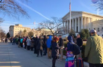 Hundreds line-up as early as before 4 a.m. Wednesday in front of the US Supreme Court building in Washington D.C. to watch as the Supreme Court listens to whether or not a cross-shaped war memorial in Maryland violates the constitution. Photo by Rommel San Pedro, Eagle News Service