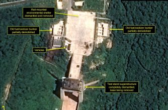 "Satellite image courtesy Airbus Defense and Space and 38 North dated July 22, 2018 and obtained July 23, 2018 shows the apparent dismantling of facilities at the Sohae satellite  launching station, North Korea. - North Korea appears to have started dismantling key facilities at a rocket-engine test center, a group of experts said, potentially marking a significant step after last month's summit between Kim Jong Un and President Donald Trump. (Photo by Handout / Pléiades © Cnes 2018, Distribution Airbus DS / AFP) / RESTRICTED TO EDITORIAL USE - MANDATORY CREDIT ""AFP PHOTO / Pléiades © Cnes 2018, Distribution Airbus DS - NO MARKETING NO ADVERTISING CAMPAIGNS - DISTRIBUTED AS A SERVICE TO CLIENTS"