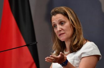Canadian Foreign Minister Chrystia Freeland addresses ambassadors as she speaks during the opening of an ambassadors' conference on August 27, 2018 at the Foreign Ministry in Berlin. (Photo by John MACDOUGALL / AFP)