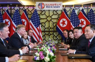 (File photo) US President Donald Trump (2nd L) and North Korea's leader Kim Jong Un (2nd R) hold a bilateral meeting during the second US-North Korea summit at the Sofitel Legend Metropole hotel in Hanoi on February 28, 2019. (Photo by Saul LOEB / AFP)