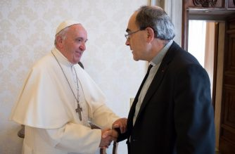 """(FILES) In this file taken and handout on May 20, 2016 by the Vatican press office shows Pope Francis (L) shaking hands with Cardinal Philippe Barbarin, the then under-fire Archbishop of Lyon suspected of covering up for a paedophile priest in a scandal that has rocked the Church in France, upon his arrival for a private audience. - The archbishop of Lyon, the most senior French cleric caught up in the global paedophilia scandal that has rocked the Catholic church, announced his resignation on March 7, 2019 after being given a six-month suspended jail term for failing to report sex abuse. """"I have decided to go to see the Holy Father to hand him my resignation. He will receive me in a few days' time,"""" Barbarin told a news conference after the verdict. (Photo by Handout / OSSERVATORE ROMANO / AFP) / RESTRICTED TO EDITORIAL USE - MANDATORY CREDIT """"AFP PHOTO / OSSERVATORE ROMANO"""" - NO MARKETING NO ADVERTISING CAMPAIGNS - DISTRIBUTED AS A SERVICE TO CLIENTS"""