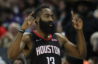 (FILES) In this file photo taken on February 27, 2019 James Harden #13 of the Houston Rockets reacts after a play against the Charlotte Hornets during their game at Spectrum Center in Charlotte, North Carolina. - James Harden racked up 31 points and 10 rebounds as the Houston Rockets stretched their winning streak to a season-best seven games on March 8, 2019 by beating the Philadelphia 76ers, 107-91. (Photo by STREETER LECKA / GETTY IMAGES NORTH AMERICA / AFP)