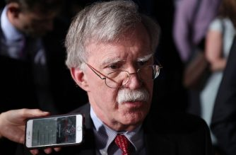 "(FILES) In this file photo taken on February 18, 2019 National Security Adviser John Bolton speaks to the media before the arrival of President Donald Trump during a rally at Florida International University in Miami, Florida. - The United States is ""very optimistic"" that France and Britain will participate in a residual force that US President Donald Trump wants to leave in Syria, his national security advisor said on March 10, 2019. ""Certainly in conversations this past week with my British and French counterparts, I'm very optimistic that they're going to participate,"" John Bolton said, in an interview with ABC's ""This Week."" (Photo by JOE RAEDLE / GETTY IMAGES NORTH AMERICA / AFP)"