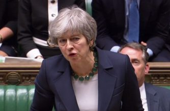 """A video grab from footage broadcast by the UK Parliament's Parliamentary Recording Unit (PRU) shows Britain's Prime Minister Theresa May making a statement in the House of Commons in London on March 13, 2019 after MP's voted to reject leaving the EU with no deal. - British MPs signalled their opposition Wednesday to leaving the EU with no deal on March 29, in another blow to Prime Minister Theresa May's authority which opens the door to Britain requesting a Brexit delay. (Photo by HO / various sources / AFP) / RESTRICTED TO EDITORIAL USE - MANDATORY CREDIT """" AFP PHOTO / PRU """" - NO USE FOR ENTERTAINMENT, SATIRICAL, MARKETING OR ADVERTISING CAMPAIGNS"""