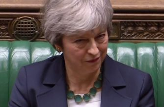 "A video grab from footage broadcast by the UK Parliament's Parliamentary Recording Unit (PRU) shows Britain's Prime Minister Theresa May reacts as Labour leader Jeremy Corbyn resonds in the House of Commons in London on March 13, 2019 after MP's voted to reject leaving the EU with no deal. - British MPs signalled their opposition Wednesday to leaving the EU with no deal on March 29, in another blow to Prime Minister Theresa May's authority which opens the door to Britain requesting a Brexit delay. (Photo by HO / PRU / AFP) / RESTRICTED TO EDITORIAL USE - MANDATORY CREDIT "" AFP PHOTO / PRU "" - NO USE FOR ENTERTAINMENT, SATIRICAL, MARKETING OR ADVERTISING CAMPAIGNS"