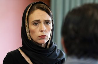 "This hand out picture released by the office of New Zealand Prime Minister shows New Zealand Prime Minister Jacinda Ardern meeting with the representatives of the refugee centre during a visit to the Canterbury Refugee Centre in Christchurch on March 16, 2019. - A right-wing extremist who filmed himself rampaging through two mosques in the quiet New Zealand city of Christchurch killing 49 worshippers appeared in court on a murder charge on March 16, 2019. (Photo by - / OFFICE OF PRIME MINISTER OF NEW ZEALAND / AFP) / ---EDITORS NOTE ----RESTRICTED TO EDITORIAL USE MANDATORY CREDIT "" AFP PHOTO /OFFICE OF PRIME MINISTER / NO MARKETING NO ADVERTISING CAMPAIGNS - DISTRIBUTED AS A SERVICE TO CLIENTS- NO ARCHIVE"
