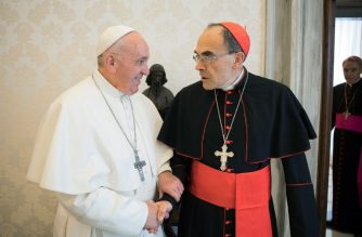 "This handout photo taken and released on March 18, 2019 by the Vatican press office, the Vatican Media, shows Pope Francis shaking hands with France's Cardinal Philippe Barbarin (R), during their meeting at the Vatican on March 18, 2019. - Pope Francis met with Cardinal Philippe Barbarin, France's highest-ranking Catholic official, who was expected to tender his resignation after receiving a six-month suspended jail sentence for failing to report sex abuse by a priest under his authority. (Photo by HO / VATICAN MEDIA / AFP) / RESTRICTED TO EDITORIAL USE - MANDATORY CREDIT ""AFP PHOTO / VATICAN MEDIA"" - NO MARKETING NO ADVERTISING CAMPAIGNS - DISTRIBUTED AS A SERVICE TO CLIENTS"