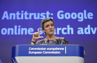 EU Commissioner of Competition Margrethe Vestager gives a joint press on Antitrust : Google online search advertising at the EU headquarters in Brussels on March 20, 2019. - The EU's powerful anti-trust regulator slapped tech giant Google with a new fine on March 20, 2019 over unfair competition, in Europe's latest salvo against Silicon Valley. (Photo by JOHN THYS / AFP)
