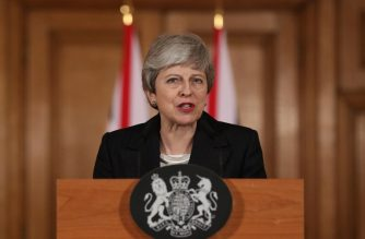 "Britain's Prime Minister Theresa May makes a statement inside 10 Downing Street in London on March 20, 2019, following her request to EU leaders to extend Brexit until June 30. - Prime Minister Theresa May said on Wednesday she remained ""determined"" to deliver Brexit, hours after formally requesting European Union leaders grant a three-month delay to Britain's departure from the bloc. (Photo by Jonathan Brady / POOL / AFP)"