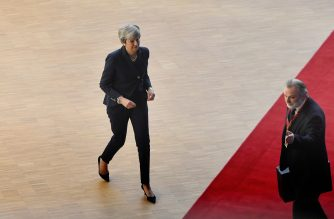 Britain's Prime Minister Theresa May arrives on March 21, 2019 in Brussels on the first day of an EU summit focused on Brexit. - European Union leaders meet in Brussels on March 21 and 22, for the last EU summit before Britain's scheduled exit of the union. (Photo by EMMANUEL DUNAND / AFP)