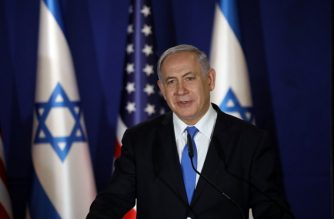 Israeli Prime Minister Benjamin Netanyahu speaks during a joint press conference, with US Secretary of State, at his residence in Jerusalem on March 21, 2019. - Pompeo issued a thinly veiled jab at US Democrats over anti-Semitism, following controversial comments by a Muslim congresswoman over American support for Israel. (Photo by AMIR COHEN / POOL / AFP)