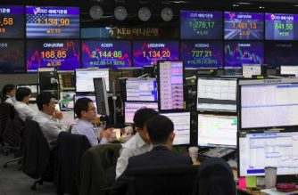Currency dealers monitor exchange rates in a trading room at the KEB Hana Bank in Seoul on March 25, 2019 - South Korean stocks fell at their steepest rate in five months on March 25 as investors dumped local shares amid fears over a global economic recession. Yonhap News Agency reported. The benchmark Korea Composite Stock Price Index (KOSPI) shed 42.09 points, or 1.92 percent, to 2,144.86. (Photo by JUNG Yeon-Je / AFP)