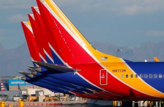 "(FILES) In this file photo taken on March 13, 2019 a group of Southwest Airlines Boeing 737 MAX 8 aircraft sit on the tarmac at Phoenix Sky Harbor International Airport in Phoenix, Arizona. The United States has followed countries around the world and has grounded all Boeing 737 Max 8 aircraft. - A Boeing 737 MAX aircraft operated by Southwest Airlines made an emergency landing on March 26, 2019, after experiencing an engine problem as it was being ferried from Florida to California, the US Federal Aviation Agency said. ""The aircraft returned and landed safely in Orlando,"" the FAA said in a statement, adding that no passengers were on board the aircraft, which was being transferred to Victorville, California, for storage. (Photo by Ralph Freso / GETTY IMAGES NORTH AMERICA / AFP)"