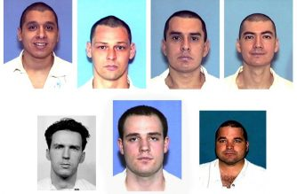 "(FILES) In this file photo composite of images taken January 2, 2001 from the Texas Department of Criminal Justice Internet site shows seven prisoners who escaped on December 13, 2000 from a Texas maximum-security prison in Kenedy, Texas, about 60 miles southeast of San Antonio. The fugitives (top L-R) Joseph Garcia, Donald Newbury, George Rivas, Larry Harper, (bottom L-R) Patrick Murphy, Jr., Randy Halprin and Michael Rodriguez had been serving sentences ranging from 30 years to life and allegedly escaped by posing as prison workers. - One of the last members of the ""Texas Seven,"" a group of escaped prisoners who killed a police officer during a high-profile crime spree in 2000, is due to be executed on March 28, 2019  by lethal injection. Patrick Murphy, 57, however, is asking for the right to be accompanied by a Buddhist monk in the death chamber and has filed a last-minute appeal to postpone his execution. (Photo by TDCJ / TDCJ / AFP)"