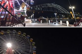 (COMBO) A combination image shows the Sydney Harbour Bridge, the Opera House and the ferris wheel before (top picture) and after (bottom picture) their lights went out, as seen from Sydney's Luna Park for the Earth Hour environmental campaign on March 30, 2019. - The lights went out on two of Sydney's most famous landmarks for the 12th anniversary of the climate change awareness campaign Earth Hour, among the first landmarks around the world to dim their lights for the event. (Photo by PETER PARKS / AFP)