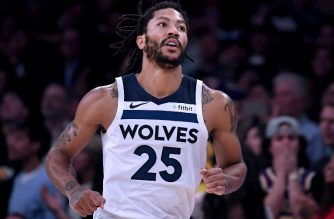 LOS ANGELES, CA - NOVEMBER 07: Derrick Rose #25 of the Minnesota Timberwolves reacts to his three pointer during a 114-110 loss to the Los Angeles Lakers at Staples Center on November 7, 2018 in Los Angeles, California. NOTE TO USER: User expressly acknowledges and agrees that, by downloading and or using this photograph, User is consenting to the terms and conditions of the Getty Images License Agreement.   Harry How/Getty Images/AFP