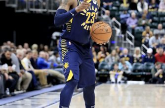 INDIANAPOLIS, INDIANA - FEBRUARY 11: Wesley Matthews #23 of the Indiana Pacers looks to pass the ball against the Charlotte Hornets at Bankers Life Fieldhouse on February 11, 2019 in Indianapolis, Indiana.   Andy Lyons/Getty Images/AFP