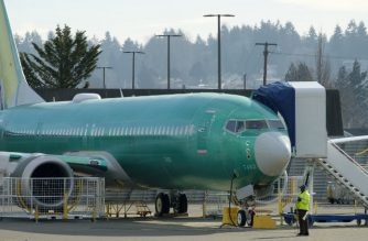 RENTON, WA - MARCH 11: A Boeing 737 MAX 9 airplane test its engines outside of the company's factory on March 11, 2019 in Renton, Washington. Boeing's stock dropped today after an Ethiopian Airlines flight was the second deadly crash in six months involving the Boeing 737 Max 8, the newest version of its most popular jetliner.   Stephen Brashear/Getty Images/AFPs