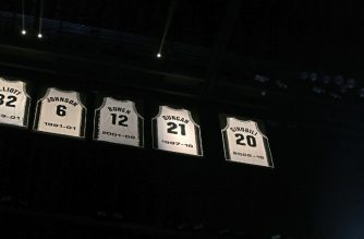 SAN ANTONIO, TX - MARCH 28: Manu Ginobili number was retired at AT&T Center on March 28, 2019 in San Antonio, Texas. NOTE TO USER: User expressly acknowledges and agrees that , by downloading and or using this photograph, User is consenting to the terms and conditions of the Getty Images License Agreement.   Ronald Cortes/Getty Images/AFP