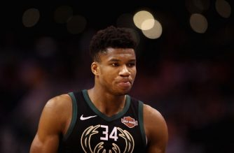 PHOENIX, ARIZONA - MARCH 04: Giannis Antetokounmpo #34 of the Milwaukee Bucks reacts as he fouls out of the NBA game against the Phoenix Suns at Talking Stick Resort Arena on March 04, 2019 in Phoenix, Arizona. The Suns defeated the Bucks 114-105.   Christian Petersen/Getty Images/AFP