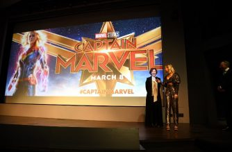 NEW YORK, NEW YORK - MARCH 06: Annette Bening and Brie Larson speak onstage during the 'Captain Marvel' NY Special Screening hosted by The Cinema Society at Henry R. Luce Auditorium at Brookfield Place on March 06, 2019 in New York.   Dimitrios Kambouris/Getty Images for Disney Studios/AFP
