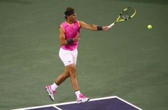 INDIAN WELLS, CALIFORNIA - MARCH 10: Rafael Nadal of Spain serves against Jared Donaldson of the United States during their men's singles second round match on day seven of the BNP Paribas Open at the Indian Wells Tennis Garden on March 10, 2019 in Indian Wells, California.   Clive Brunskill/Getty Images/AFP