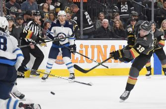 LAS VEGAS, NEVADA - MARCH 21: Reilly Smith #19 of the Vegas Golden Knights shoots and scores against the Winnipeg Jets in the second period of their game at T-Mobile Arena on March 21, 2019 in Las Vegas, Nevada.   Ethan Miller/Getty Images/AFP