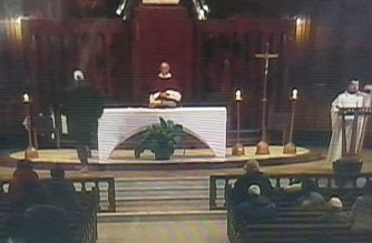 A priest is stabbed during a livestreamed morning mass at Canada's biggest church, Saint Joseph's Oratory, in Montreal. (Photo grabbed from Saint Joseph's Oratory/CTV)