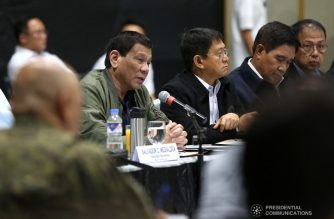 President Rodrigo Roa Duterte presides over the Joint Armed Forces of the Philippines-Philippine National Police (AFP-PNP) Command Conference at the Arcadia Active Lifestyle Center in Davao City on March 14, 2019. Also in the photo are Interior and Local Government Secretary Eduardo Año, National Security Adviser Hermogenes Esperon Jr. and Presidential Adviser on the Peace Process Carlito Galvez Jr. KARL NORMAN ALONZO/PRESIDENTIAL PHOTO