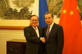 Foreign Affairs Secretary Teodoro L. Locsin Jr. poses with  his counterpart Chinese State Councilor and Foreign Minister Wang Yi at their bilateral meeting on 20 March 2019, at the Diaoyutai State Guesthouse in Beijing, China.  (Photo courtesy DFA)