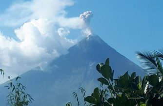 In photo: Mayon Volcano emitting ash on Tuesday, March 12