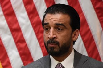 "Iraq Council of Representatives Speaker Mohammed al-Halbousi speaks at the United States Institute of Peace (USIP) in Washington, DC, on March 29, 2019. - USIP held a discussion on ""A New Parliament in Iraq,"" focusing on priorities, the battle against violent extremism, and a vision for peace and stability. (Photo by Jim WATSON / AFP)"