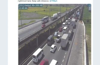 A twitter post of NLEX shows the traffic after the vehicular accident involving a Hyundai van that flipped to its side after a tire blowout/  Six people were killed while 9 others were wounded in the accident. (Courtesy NLEX twitter)