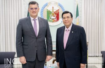 Outgoing South African ambassador to the Philippines H.E. Martin Slabber makes his farewell courtesy call to Iglesia Ni Cristo (Church Of Christ) Executive Minister Brother Eduardo V. Manalo on Wednesday morning, March 27, 2019 at the INC Central Office in Quezon City. Philippines.  (Photo courtesy INC-Public Information Office)