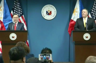 Foreign Affairs Secretary Teodoro Locsin Jr. and US Secretary of State Mike Pompeo hold a joint press conference at the Department of Foreign Affairs on Friday, March 1./RTVM/