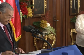 President Rodrigo Duterte and Malaysia Prime Minister Mahathir Bin Mohamad hold their joint press conference after their closed-door meeting in Malacañang on Thursday, March 7./RTVM/
